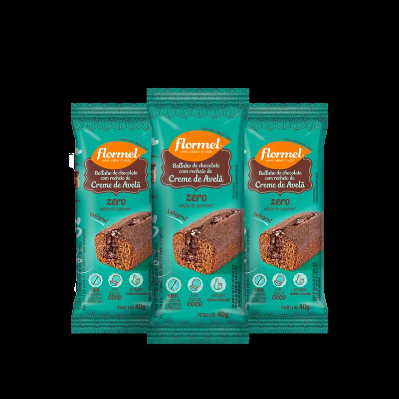 Combo Bolinho Integral Chocolate Recheio de Avelã (3 unidades) Flormel