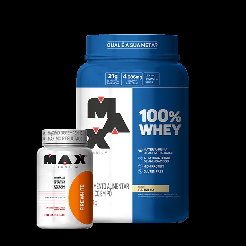 100% Whey Protein (900g) + Ultimate Fire White (60caps) Max Titanium
