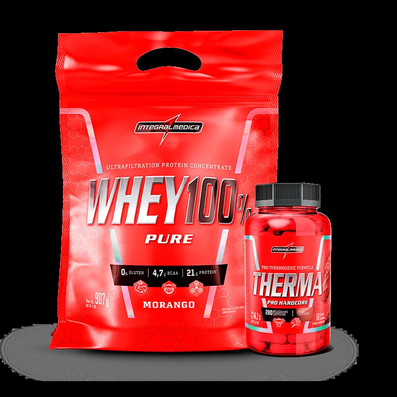 Whey 100% Pure (Refil-907g) + Therma Pro Hardcore (60caps) IntegralMedica