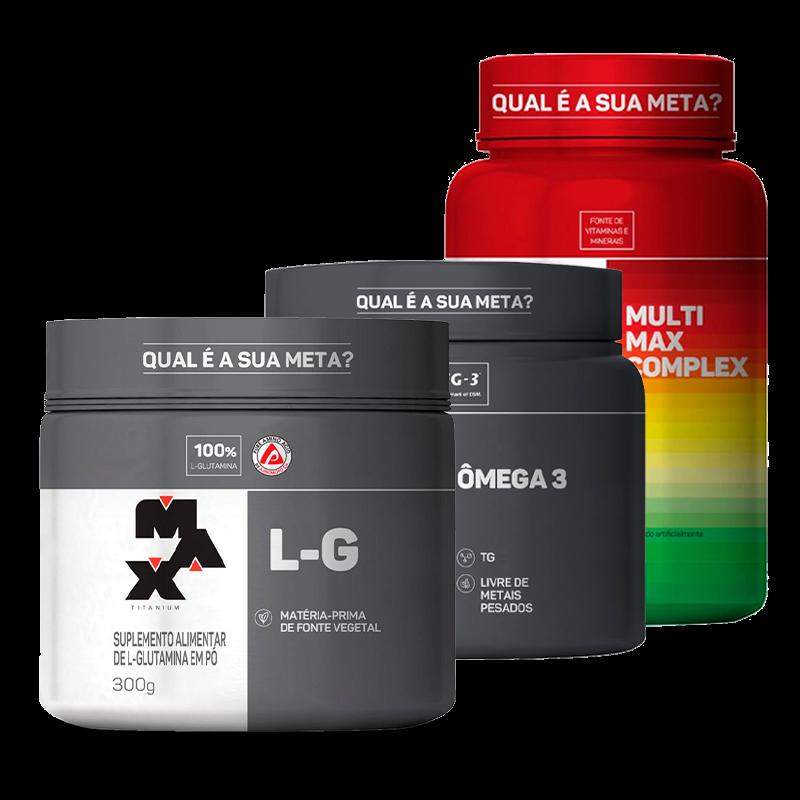 Combo Pro Imunidade L-G (150g) + Omega 3 (90caps) + MultiMax Complex (90caps) Max Titanium