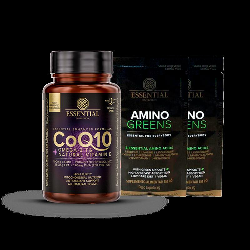 Coq10 com Ômega 3 e Vitamina E (60caps) Essential Nutrition + Amostra Amino Greens (2x8g) Grátis