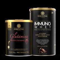 L-Glutamina (300g) Essential Nutrition + Immuno Whey (465g) Essential Nutrition