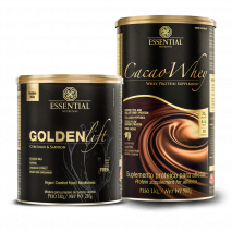 Cacao Whey (900g) + Golden Lift (210g) Essential Nutrition