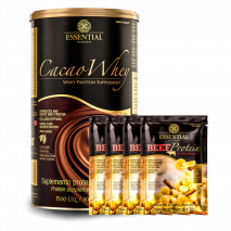 Cacao Whey (900g) Essential Nutrition + 150g Beef Protein Grátis