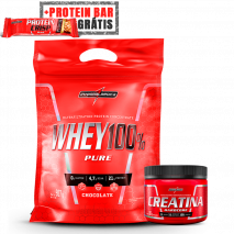 Whey 100% Pure (Refil-907g) + Creatina Hardcore Reload (150g) IntegralMedica + Protein Crisp Bar (Unidade-45g) Grátis