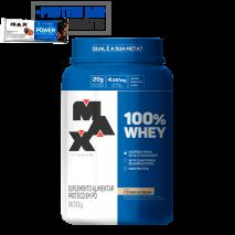 100% Whey Protein (900g) Max Titanium + Power Protein Bar (1unid-41g) Grátis