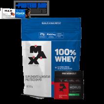 100% Whey Protein (Refil-900g) Max Titanium + Horus (300g) Max Titanium + Power Protein Bar (1unid-41g) Grátis
