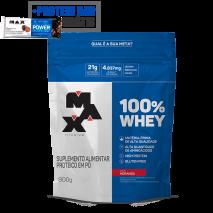 100% Whey Protein (Refil-900g) Max Titanium + Power Protein Bar (1unid-41g) Grátis