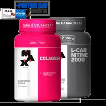 Colagen Hidrolisado (100caps) + L-Carnitina 2000 (60caps) Max Titanium + Power Protein Bar (1unid-41g) Grátis