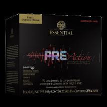 Pre Action Energy Drink (20 sachês de 27g) Essential Nutrition-Maça e Limão - 50% OFF