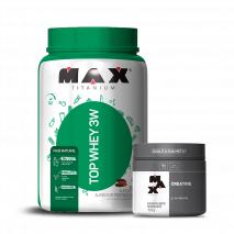 Top Whey 3W Mais Natural (900g) + Creatina Titanium (100g) Max Titanium