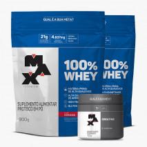 100% Whey Protein (2xRefil-900g) + Creatina Titanium (100g) Max Titanium