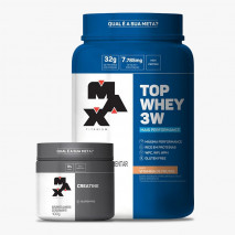 Top Whey 3W Mais Performance (900g) + Creatina Titanium (100g) Max Titanium